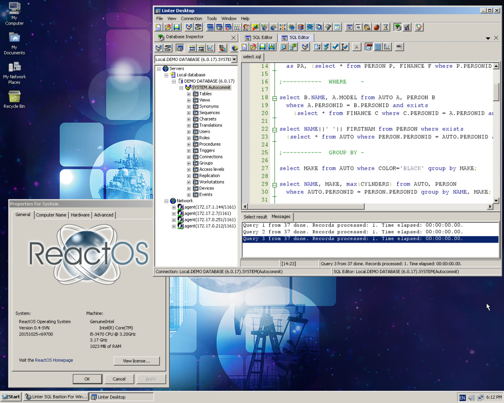 Linter database RELEX ReactOS
